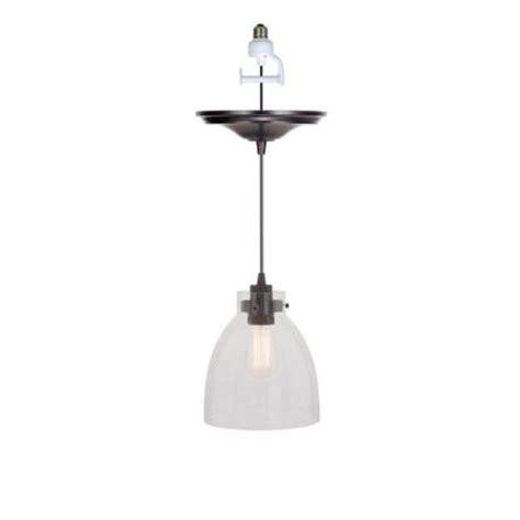 Worth Home Products 1 Light Brushed Bronze Instant Pendant Pendant Light Kit Home Depot