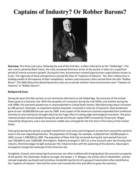 Captains Of Industry Essay by Dbq Industrial Revolution Business Tycoons Captains Of Industry Or Robber Barons By Linni0011