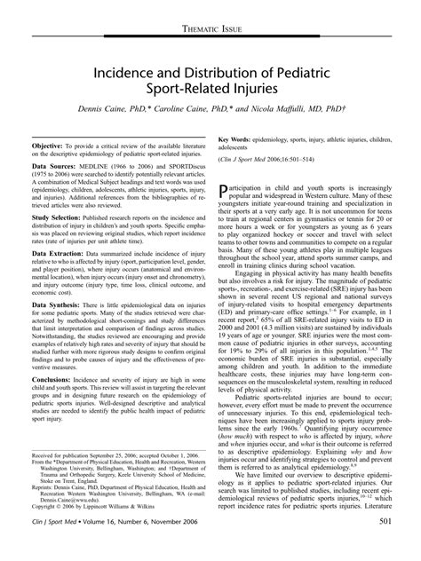 incidence  distribution  pediatric sport related injuries