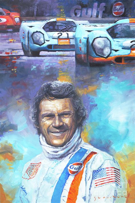 painting mcqueen steve mcqueen le mans porsche 917 painting by yuriy shevchuk