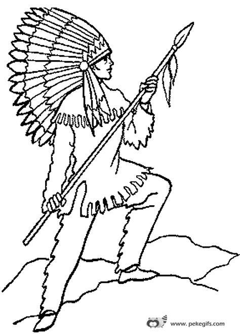 imagenes para colorear indios colorear indio con lanza