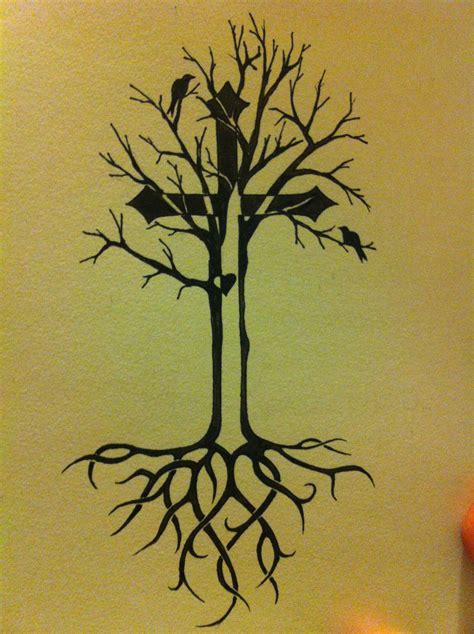 roots tattoo tree of idea with celtic roots and cross