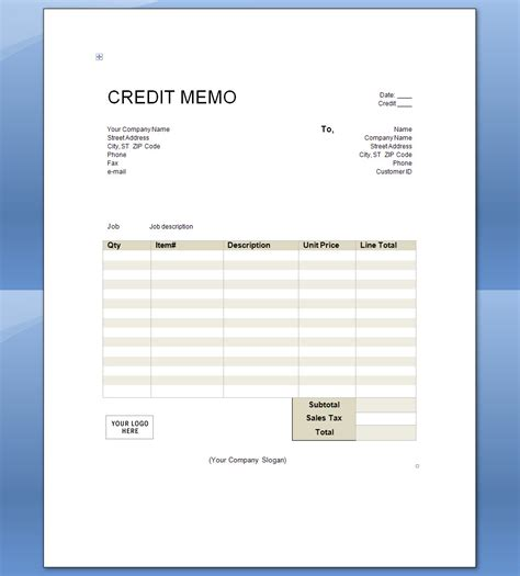 Credit Note Invoice Format Credit Memo Template