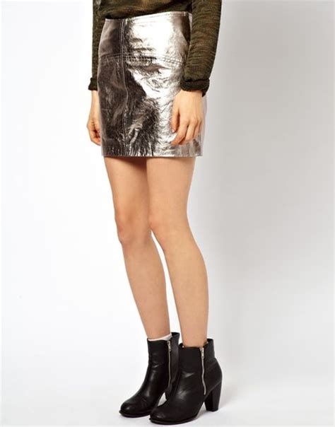 asos collection mini skirt in metallic leather in silver