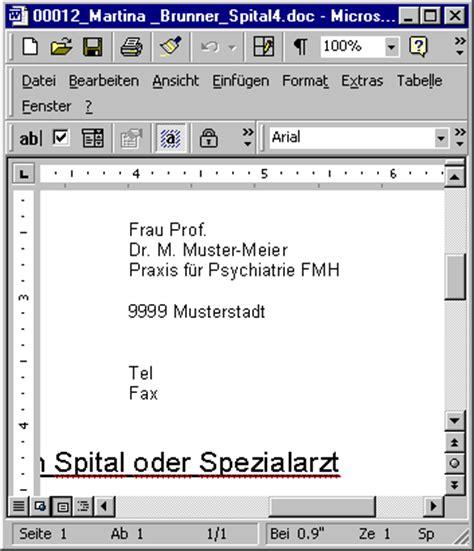 Anschreiben Anrede Doktor Briefe An Praxen Und Spit 228 Ler