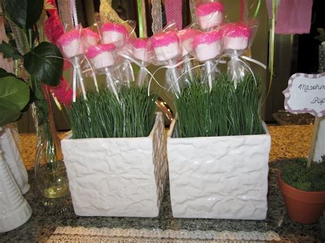marshmallow for bridal showers marshmallow pops made to look like flowers idea for a garden themed baby or bridal shower
