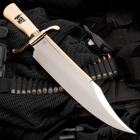 Engraved Kitchen Knives gil hibben quot expendables quot bowie knife with leather sheath
