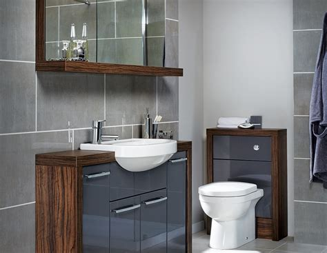 bathroom furniture grey gloss and contrasting walnut fitted bathroom