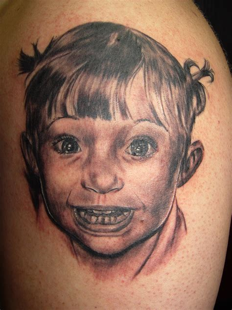 little girl tattoo portrait by tattoos