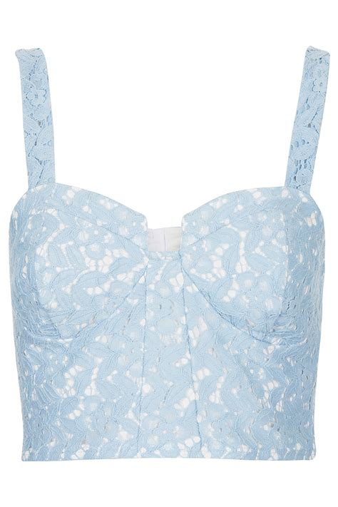 Light Blue Top by Topshop Lace Corset Bralet Top In Blue Lyst