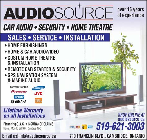 audiosource opening hours 710 franklin blvd cambridge on