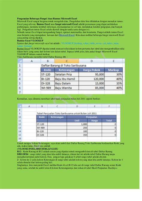 Rumus Microsoft Excel pengenalan beberapa fungsi atau rumus microsoft excel