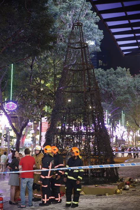 christmas tree catches fire in orchard road singapore