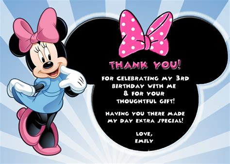 pageplus minimouse greeting card template personalized minnie mouse birthday thank you card digital