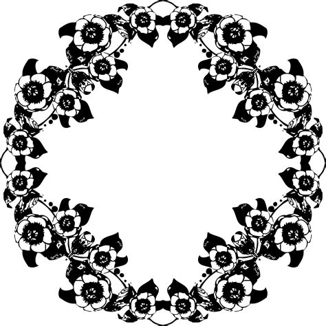 design black and white clipart vintage black and white floral design