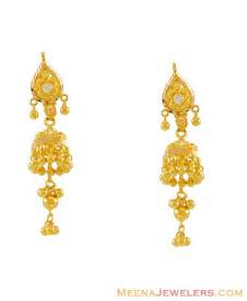 gold earrings images 22k jhumka earrings erfc7929 22 karat gold jhumka chandelier earrings with cubic zircon