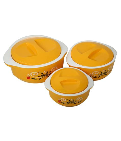 cello treat casseroles set 3pcs yellow buy at best price in india snapdeal