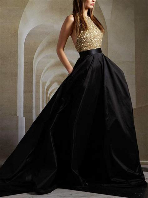long gold sequin black party   ball gown sparkly