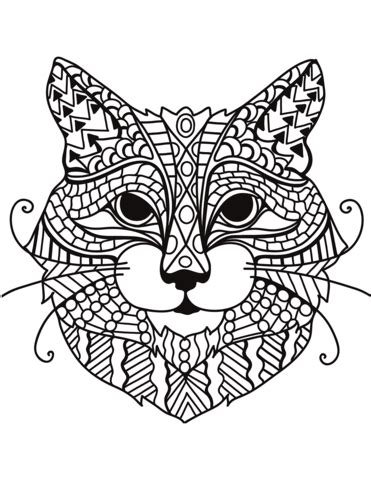 manx cat coloring page zentangle cat head coloring page free printable coloring