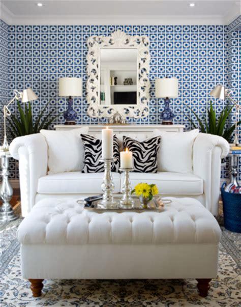 blue wallpaper living room designing with wallpaper
