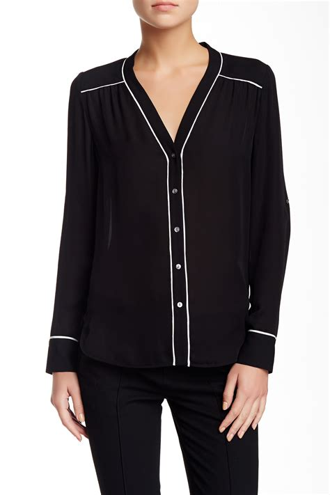 Blouse With Contrast Piping Korz vince contrast piping silk blouse nordstrom rack