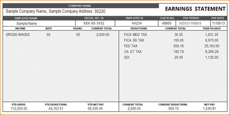 excel pay stub template free 4 pay stub template excel authorizationletters org