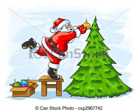 clip art of cheerful santa claus decorating christmas tree