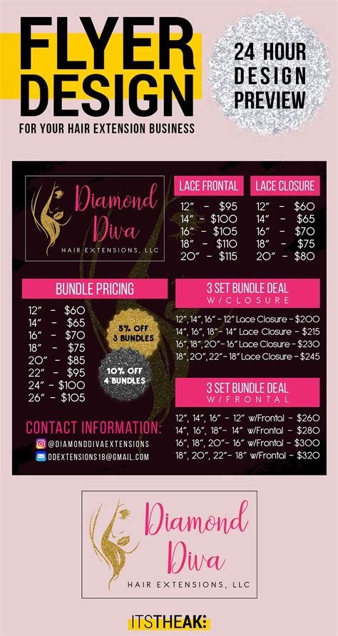 premade pricing flyer customized   hair