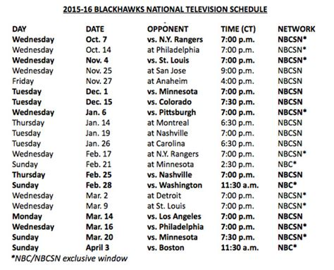 printable nhl schedule 2015 16 blackhawks announce 2015 16 national tv schedule