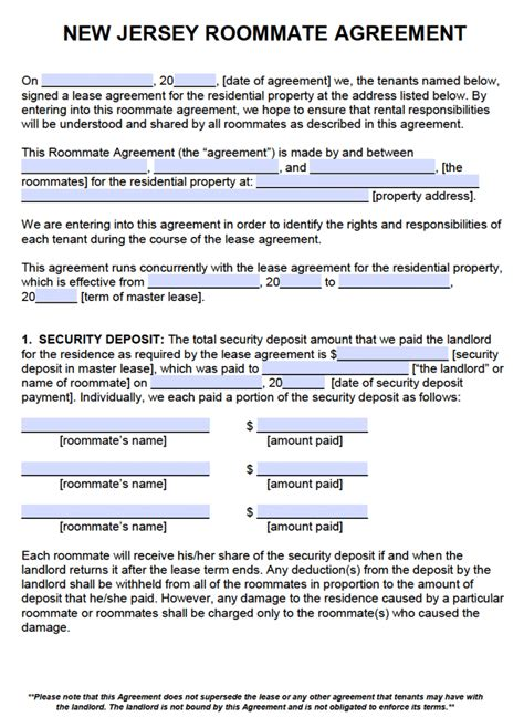 Free New Jersey Roommate Agreement Template Pdf Word Rental Lease Agreement Nj Template