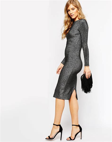 ted baker dafney longsleeve metallic midi dress with belt
