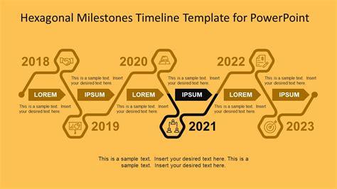 Hexagonal Milestones Timeline Template For Powerpoint Slidemodel Project Milestone Template Ppt