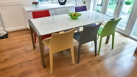White Dining Table And Coloured Chairs Modern White Gloss Extending Dining Table And Bright Coloured Chairs Seats 8