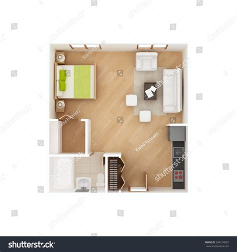 American White Basic S M L Top 30556 studio apartment floor plan top view stock illustration