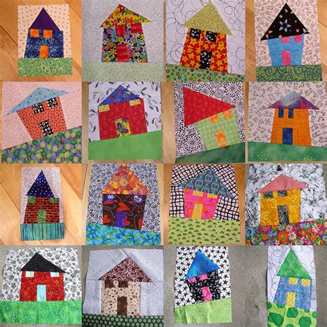 house pattern fabric more wonky houses i can t stop making these lots of fun