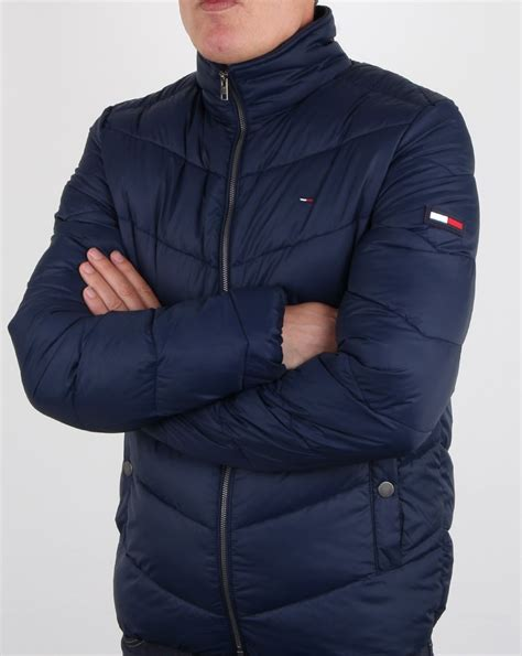 hilfiger quilted jacket navy mens padded fleece