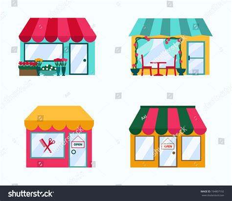 Set Of Style By Aybie Shop vector set exterior buildings shop city stock vector