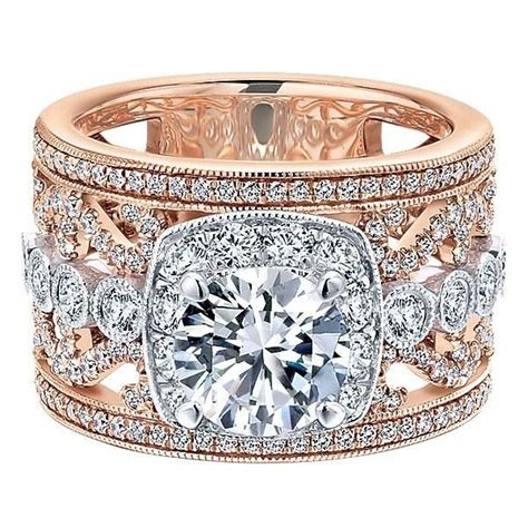 18K Rose and White Gold Stacked Multi Band Vintage Diamond