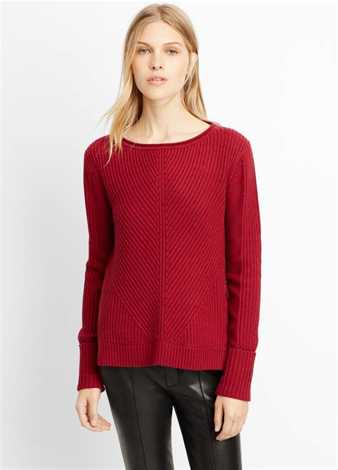 merino wool boatneck sweater lyst vince wool cashmere directional rib boatneck