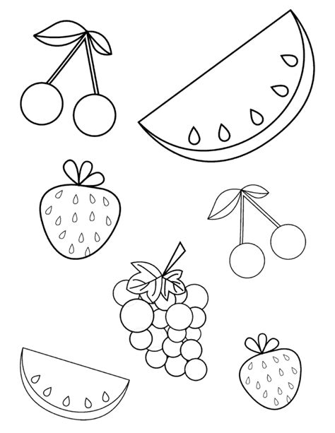 fruit coloring pages free summer fruits coloring page pdf for toddlers