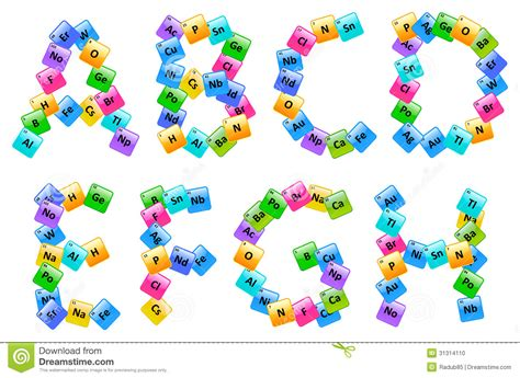 Letter Elements Periodic Table Of Elements Alphabet Letters Stock Photo Image 31314110