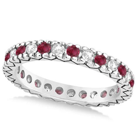 Ruby 4 85ct ruby pave eternity bridal set 14k white gold 0 85ct