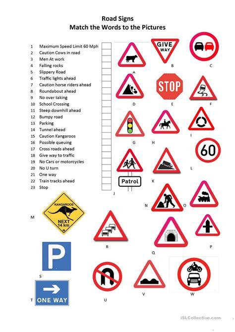 Free Printable Worksheets Road Signs | road signs worksheet free esl printable worksheets made