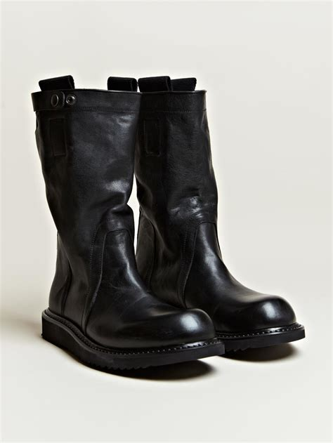 mens biker boot rick owens mens pull on biker boots in black for lyst