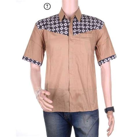 Hem Polos Kombi Saku Kemeja Polos baju kemeja lengan pendek hem motif batik kombinasi