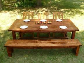 Farmhouse Dining Table With Bench Custom Made Farmhouse Style Dining Table And Bench By