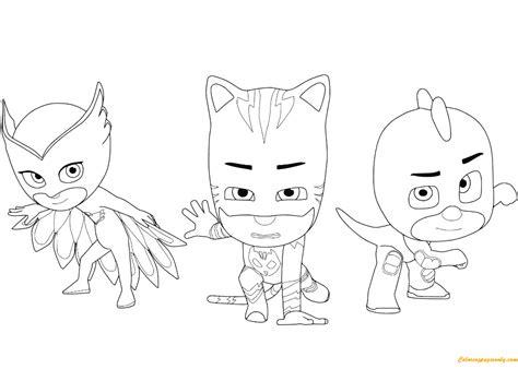 catboy pj masks coloring pages owlette catboy and gecko from pj masks coloring page