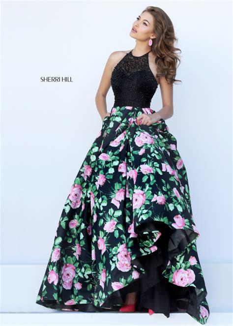 sherri hill style 50425 black pink two tone floral print