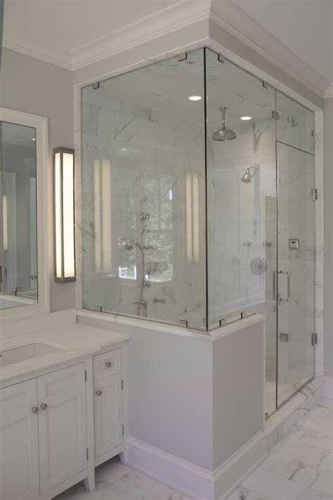 bathroom glass wall enclosed glass shower contemporary bathroom jillian