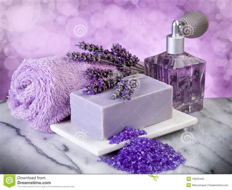 bathrooms products spa lavender bath products stock photo image 19845440